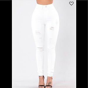High waist distressed pant